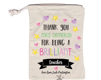 Personalized Teacher gift, sweet bag, teaching assistant gift, child minder gift, nursery gift, thank you, custom teacher gift, end of term