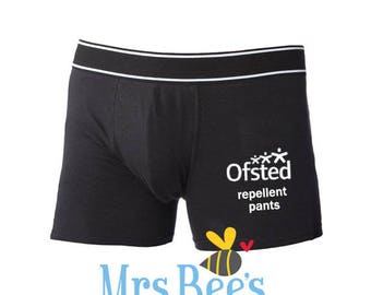 Teacher funny gift, OFSTED repellent, ofsted pants, OFSTED boxers, ofsted shorts, teacher pants, teacher underwear, anti OFSTED, undies
