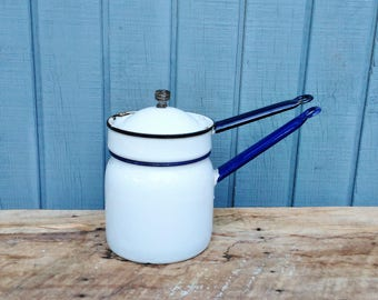 Vintage Enamel Double Broiler - Cottage - Farmhouse - Enamel Pan