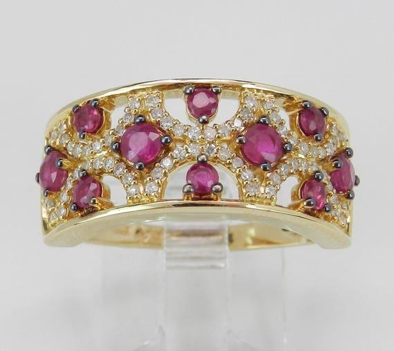 Ruby and Diamond Wedding Ring Anniversary Band 14K Yellow Gold Size 7 July Birthstone