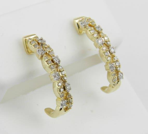 Diamond J Hoop Earrings Diamond Half Hoops set in Yellow Gold Graduation Gift