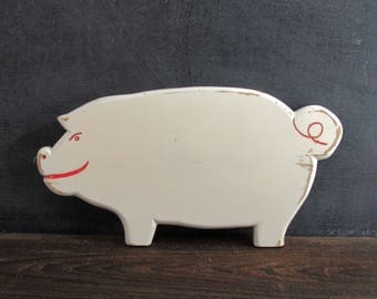 Vintage White Wooden Pig Cutting Board with Red Details, Farmhouse Kitchen Decor