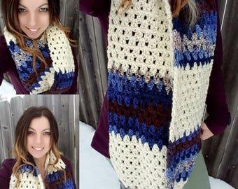 Crochet Chunky Color Block Infinity Scarf - Crochet Wrap - Crochet Circle Scarf - Crochet Cowl -Neck Warmer