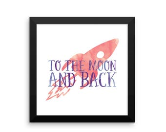 Rocket Print, Watercolor Rocket Print, Digital Download Boy's Nursery Print, Instant Downloand, To The Moon Print