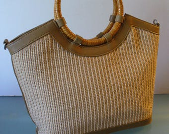 Vintage Fossil Straw & Leather Tote  Bag