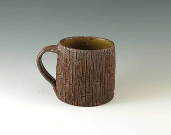Ceramic Coffee Mug, Weathered Wood Grain Pottery Mug, Unique Handmade Mug, Art Pottery, Functional Ceramics, MS112