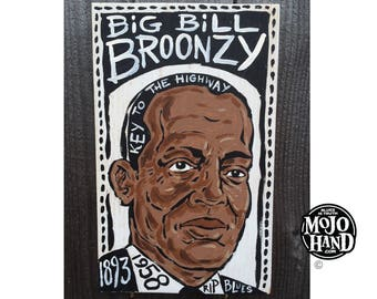 Big Bill Broonzy blues folk art painting on wood by Grego of mojohand.com - outsider art