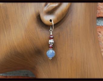 Labradorite Earrings, Labradorite and Garnet Earrings, Earrings With Garnet, Labradorite Coin Earrings, Labradorite Dangle Earrings