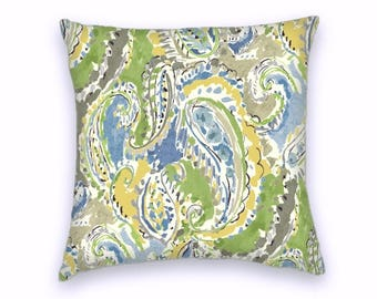 Green Blue Yellow Classic Paisley Decorative Throw Pillow-18x18 or 20x20 or 22x22- Pillow Cover- Accent Pillow