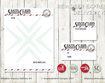 Christmas Holiday - Advent for Families - Santa Claus Reindeer Express - Letters to Santa - PRINTABLE Letterhead, Stickers, Tags, Mailing La