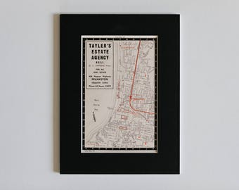 1950s map of Melbourne suburbs, Australia - Seaford, Long island, Frankston, Olivers Hill, Port Phillip Bay, ready to frame, 6 x 8""