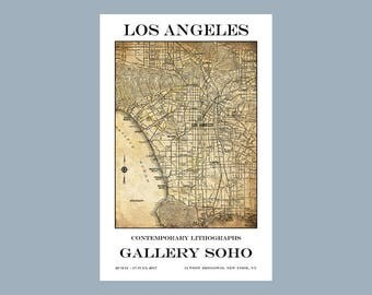 Los Angeles - Map - California - Gallery Poster - Print - Poster - Retro