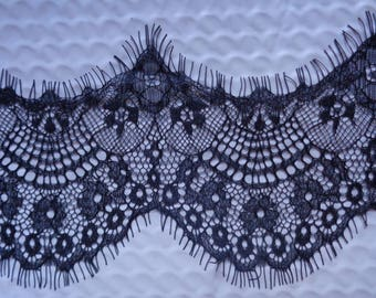 3 inches wide delicate black Eyelash Lace Trim select length