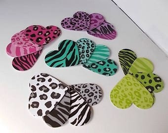 Animal Print Die Cuts, Big Hang Tags, Card Making Supplies, Large Paper Hearts, Scrapbooking, Leopard Tags
