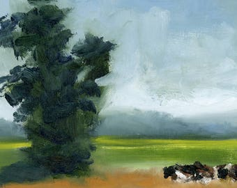 Landscape Art Print, Animal Art, Cows Art, landscape art, Modern Art Print, Contemporary Art Print, Square Art