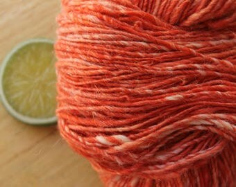 Coral - Handspun Merino Wool Yarn Alpaca Cashmere Sparkle