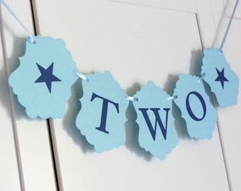 Blue TWO Banner - Boys Second Birthday Banner - TWO Year Old Boy