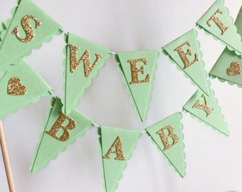 Sweet Baby - Mint & Gold Baby Shower Cake Bunting - New Baby Cake Topper