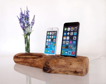 Unique iPhone dual dock with vase / iPhone 7 dock /  iPhone 6s plus dock / iPhone 5 dock - handmade from walnut wood