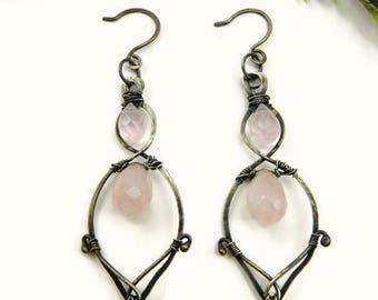 Vintage Style Pink Chandelier Earrings/Wire Wrapped Earrings