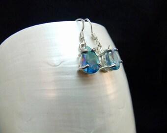 Aqua Aura Sterling Silver Drop Earrings