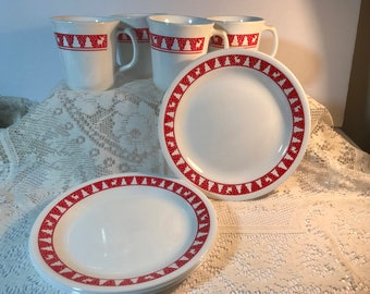 1970s Corelle Red Winter Festival Christmas Dishes Cups Plates