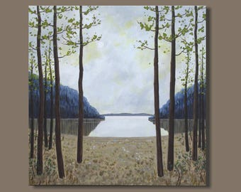 FREE SHIP large painting, semi abstract landscape painting, tree painting, Canadian art, forest painting, blue green, mountain painting