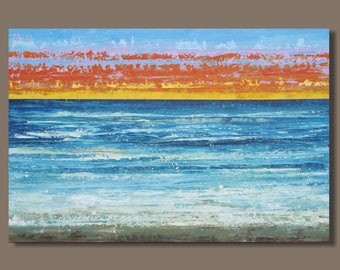 FREE SHIP large abstract painting, ocean sunset painting, turquoise blue, beach painting, beach sunset, 24x36, modern art, impressionist art