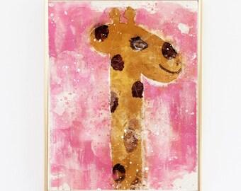 Nursery Decor, Baby Girl Nursery Prints, Zoo Animals Nursery Wall Art, Giraffe Print Nursery Art, Pink Nursery Decor, Baby Room