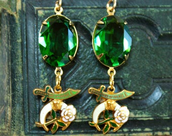 Daughters of the Nile Assemblage Earrings  Shriners  Swarovski Mason Masonic Fraternal Women's organization Devotional spiritual jewelry