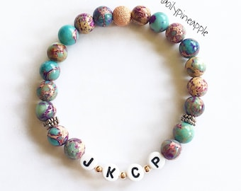Natural Stone ~ Terra Jasper CUSTOM Name/Word Bracelet