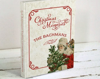 Christmas Memories Journal - Vintage Santa Claus - Family Christmas Memories Keepsake - Gift for Newlyweds - Personalized Hardcover Book