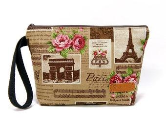 Paris Zipper Pouch, Cosmetic Bag, Makeup Bag, Toiletry Bag, Supply Bag, Purse Organizer, Zipper Wristlet, Brown Bag