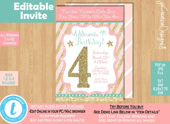 Girl 4th birthday invitation twinkle twinkle little star invitation il570xn stopboris Images