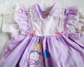 Vintage Adorable  Baby Purple With Polka Dots And Embroidered Kitty And Balloons Lace Size 6-12 mos Vintage Baby Or Doll Clothes