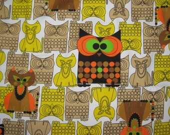 5 Yards Vintage 60s 70s Owl & the Pussy Cat Cotton Upholstery Curtain Fabric Novelty Print