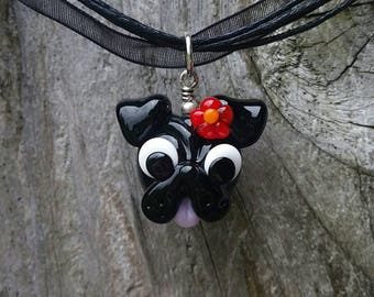 Pug with Flower - Glass Pendant