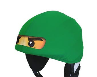 Lloyd ninjago - Green Ninja ski, snowboard helmet cover, bike, cycling, riding, rafting helmet cover, fancy dress, costume, 6-99 years