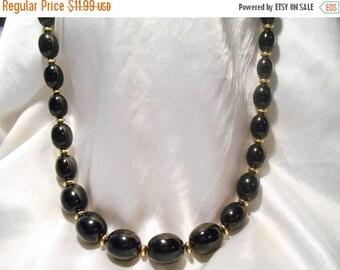 50% Off Sale Napier Vintage Black Lucite Plastic Graduated Bead Necklace With Gold Tone Spacers