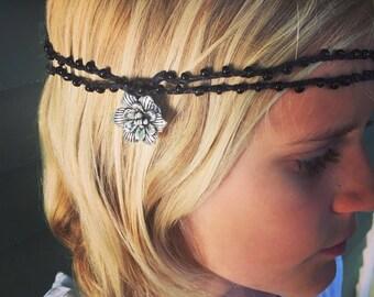 Night Garden: Versatile crocheted necklace / bracelet / belt / headband