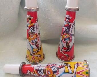 3 Vintage Tin Japan Lone Ranger Tin Horn - Noise Makers