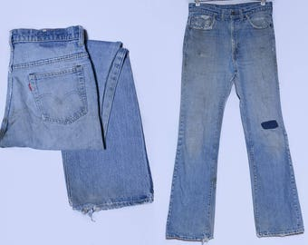 70s Levis 517 Black Bar Perfectly Distressed Patched Up Denim Blue Jeans 33 x 35