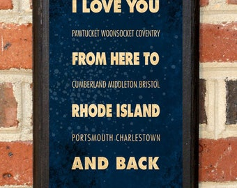 Rhode Island RI I Love You From Here And Back Wall Art Sign Plaque Gift Present Personalized Custom Color Home Decor Vintage Style Classic