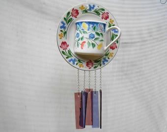 Stained Glass Tea Cup Wind Chime w/ Flowers, Floral Cup and Saucer, Handmade Windchime, Glass Yard Art, Unique Gift Idea, Glass Garden Decor