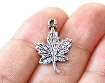 15% OFF - 8 Leaf Charms Antique Silver Tone 2 sided - CH618