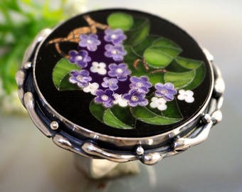 Mosaic Ring Lilac Flowers Statement Ring Sterling Silver Jewelry