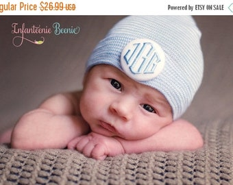 SALE 25% OFF Newborn Hospital Hat Boy.  Newborn Hat Boy.  Boy Newborn Hat.  1 or 3 initials to custom monogram your baby boy newborn hospita