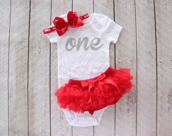 "First Birthday Silver Glitter ""one"" Bodysuit, Tutu Bloomer & Bow Headband in Red - 1st Birthday Outfit - Cake Smash - Baby Girl -Gift"