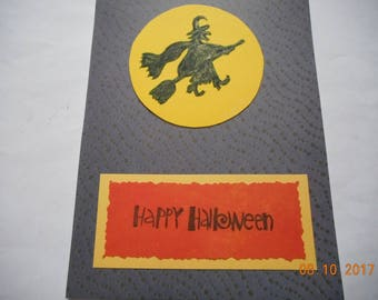 Halloween card Flying witch and moon card Happy Halloween card handmade card