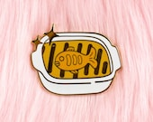 Pumpkin & Herring Pot Pie Hard Enamel Pin // Fish, Studio Ghibli, Kiki's Delivery Service. lapel, badge, gold, casserole, anime, baking